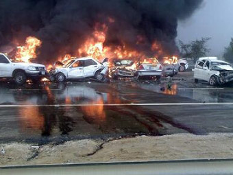 Eight people have been killed and 141 injured after a devastating 200-car pile up on the Abu Dhabi-Dubai highway